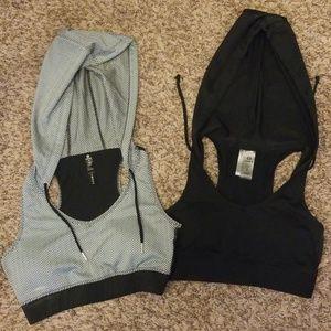 2 hooded sports bras sz S